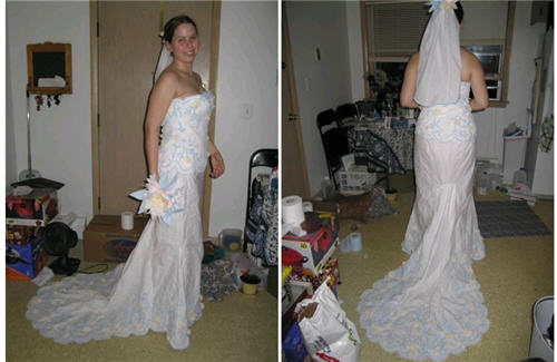 手纸作的婚纱