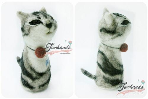 双手牌手工毛毡玩偶小猫