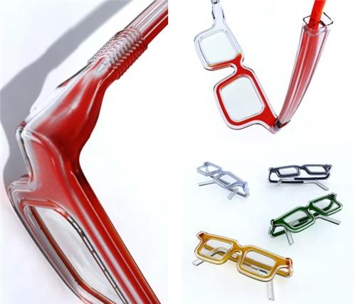 眼镜腿的折叠处类似吸管