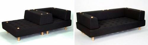 这是一只可以自由重组靠背和扶手的沙发