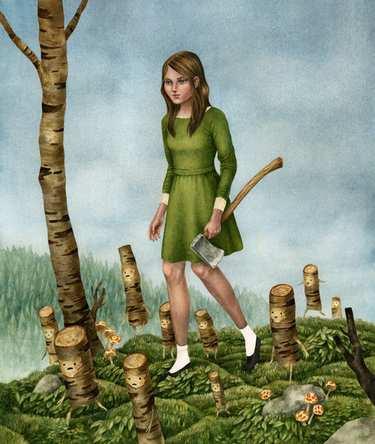 从前有一个孩子叫华盛顿,他有把斧子,后来他的斧子被女同学抢走了
