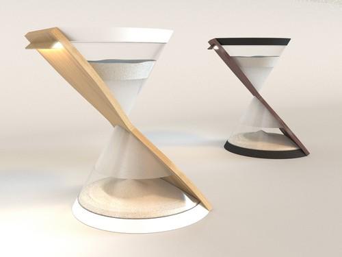 用沙漏做灯是点子,加上两块板子把它弄好看就是设计