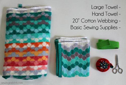 材料准备:浴巾一条,普通毛巾一条,20英寸(约合51厘米)的纯棉背带,针线和剪子。(网不易的鼠标悬停翻译功能还可自动进行单位换算)背带长度其实不必严格遵守,根据你自己的毛巾大小,取与毛巾等宽的长度就可以了。