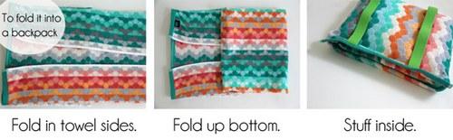 翻过来,把浴巾两侧向内折叠,然后另一端叠上来,塞进毛巾袋里,好啦!(实际就是把浴巾反折上来,装在了对折缝好的毛巾袋里,你们看懂了没有……)