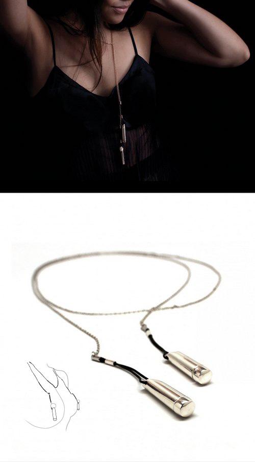 水滴项链,同时也是乳头振动器,内置纽扣电池……