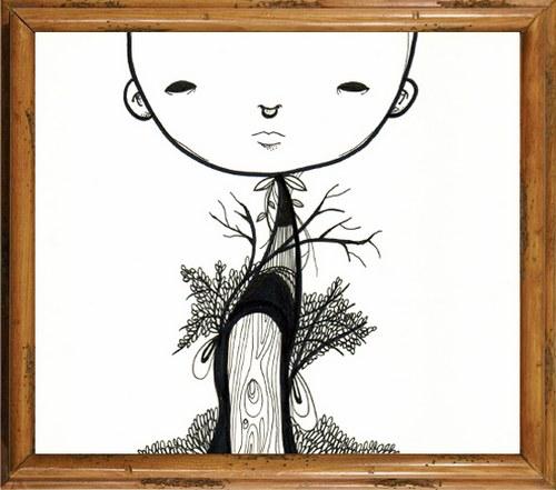 树上长出了一个头,萌萌的
