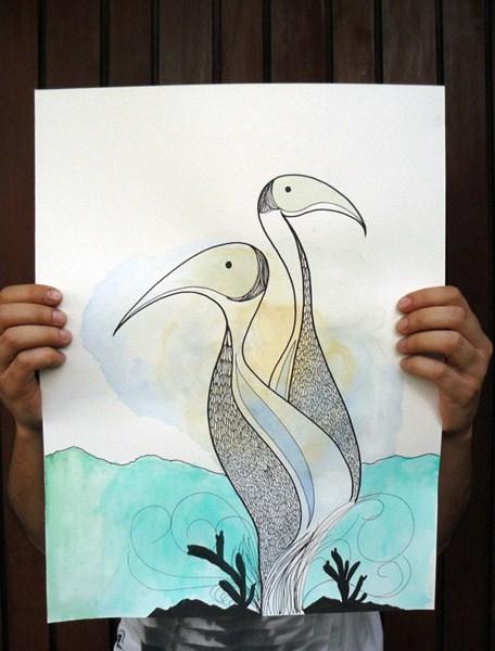和刚才的几幅相比,这张水鸟画洋溢着暖洋洋的爱呢