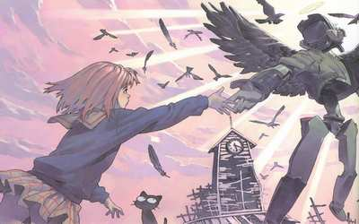 I saw God the other day by a river on a rainy afternoon. He helped a kitten that was left all alone. It's a god only I can see; a black-winged angel that came down from the heavens just for me. ―Mamimi; FLCL